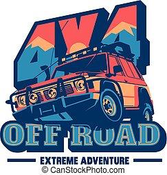 coche, suv, off-road, logotipo, offroader., safari, expedición