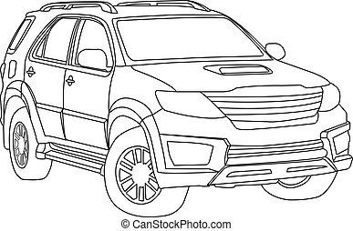 coche, suv, vector, contorno