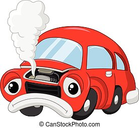 coche, tan, daño, smok, caricatura