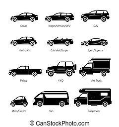 coche, tipo, y, modelo, objetos, iconos, conjunto
