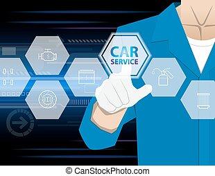 coche, trabajando, conmovedor, hombre de negocios, coche, informe, accidente, moderno, señalar, virtual, tecnología, infographic, servicio, mano