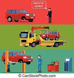 coche, transportar, máquina, camión, service., remolque, roto