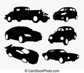 coche, transporte, siluetas