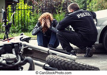 coche, víctima, colisión, aterrorizado, policía, motocicleta, tráfico