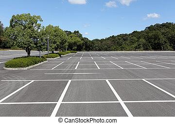 coche, vacío, terreno, estacionamiento
