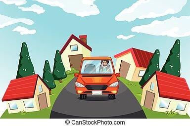coche, vecindad, conducción, hombre