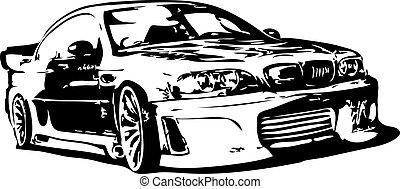 coche, vector, -