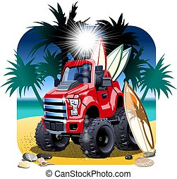 coche, vector, aislado, caricatura, 4x4, playa