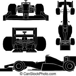 coche, vector, carreras