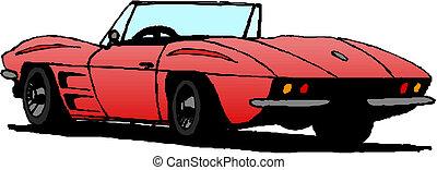 coche, vector, convertible