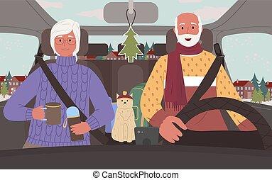 coche, vector, gente, camino, 3º edad, invierno, viaje
