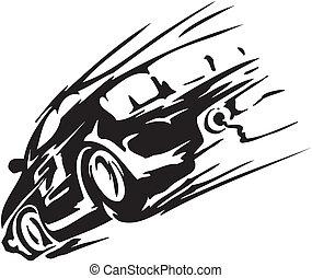 coche, vector, -, ilustración, carrera