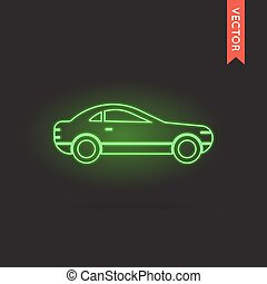 coche, vector, neón, icono