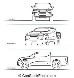 coche, vector, recolección, perspectiva, vista, silhouettes., lado, frente, off-road, camión, suv