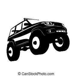 coche, vector, vehículo, camino, silhuette, logotipo, ilustración, de