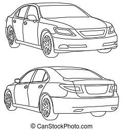 coche, vector, vista, espalda, frente, dos