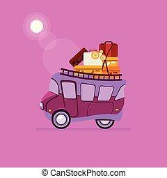 coche, vector, vista, luggage., lado, ilustración, montón, púrpura