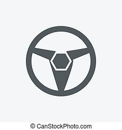 coche, vehículo, o, automóvil, volante, icono, o, symbol-, vector, graphic.