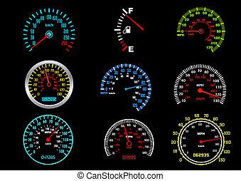 coche, velocímetros
