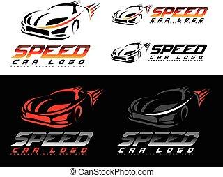 coche, velocidad, logotipo