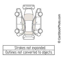 coche, ventana trasera, dibujo, contornos, no, convertido,...