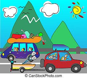 coche, viajar, familia , feliz