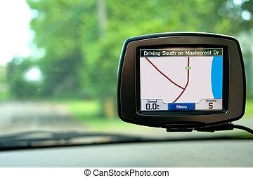 coche, viajar, navegación, gps