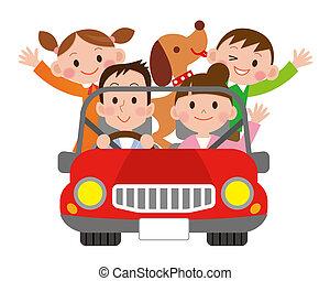 coche, viaje, familia