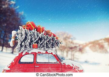 coche, viaje, interpretación, 3d, navidad