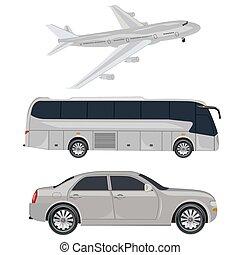 coche, viaje, transporte, autobús