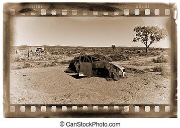 coche, viejo, desierto