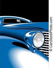 coche, viejo, detalle
