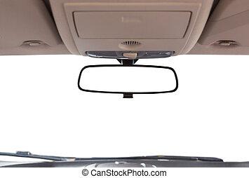 coche, vista trasera, espejo.