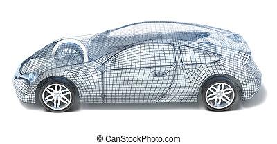 coche, wireframe., deporte, izquierda, vista