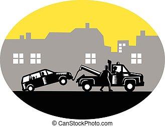 coche, woodcut, edificios, camión, oval, remolque, remolcar
