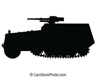 coche, ww2, -, halftrack, blindado