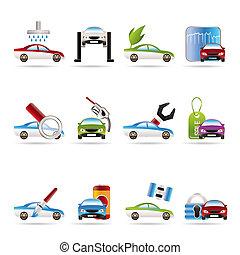 coche, y, automóvil, servicio, icono