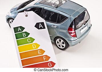 coche, y, eficiencia, etiqueta