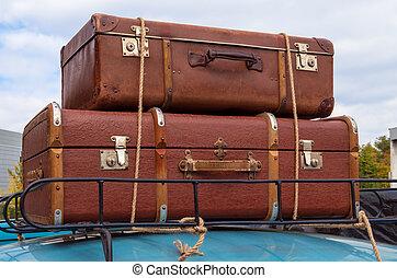 coche, y, equipaje
