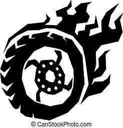coche, y, motocicleta, fuego, rueda, con, llama, vector.