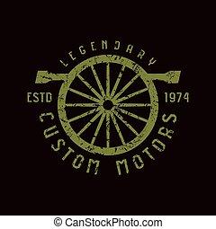 coche, y, motocicleta, servicio, emblema