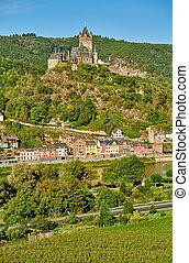 cochem, ville, rivière, château, moselle, allemagne, reichsburg