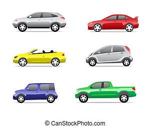 coches, 3, parte, conjunto, iconos