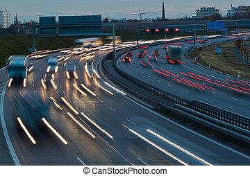 coches, carretera, noche