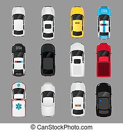 coches, cima, iconos, vista