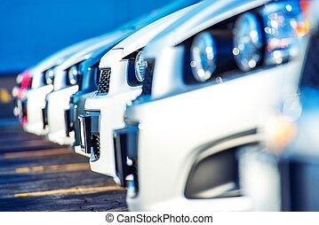 coches, comerciante, venta