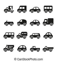 coches, conjunto, icono