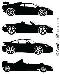 coches, conjunto, vector, deporte