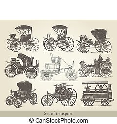 coches, conjunto, viejo