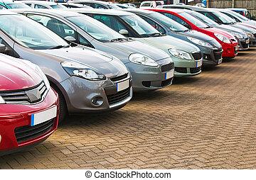 coches, diferente, utilizado, fila